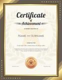 Certificat de portrait de calibre d'accomplissement avec la frontière d'or Images stock