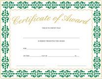 Certificat de récompense Photographie stock libre de droits