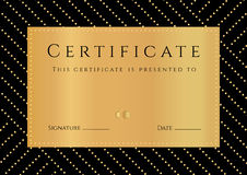 Certificat, diplôme de l'achèvement avec le fond noir, elemets d'or modèle, frontière, cadre d'or Photos stock