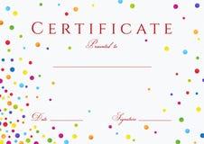 Certificat, diplôme de l'achèvement avec les cercles colorés Image stock