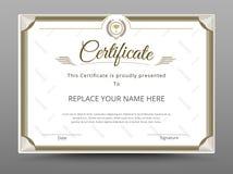 Certificat, diplôme de l'achèvement, certificat de l'accomplissement d Images libres de droits