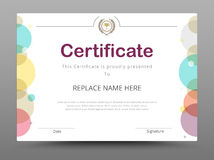 Certificat, diplôme de l'achèvement, certificat de l'accomplissement d Photos libres de droits