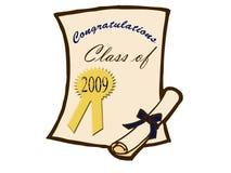 Certificat et diplôme de graduation Photo stock