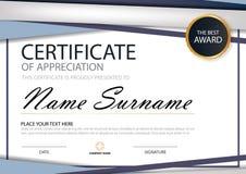 Certificat horizontal d'élégance bleue de triangle avec l'illustration de vecteur, calibre blanc de certificat de cadre avec prop illustration stock