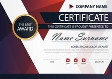 Certificat horizontal d'élégance noire rouge avec l'illustration de vecteur, calibre blanc de certificat de cadre avec le modèle  Images libres de droits