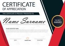 Certificat horizontal d'élégance noire rouge avec l'illustration de vecteur, calibre blanc de certificat de cadre avec le modèle  Images stock