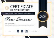 Certificat horizontal de cercle d'élégance noire d'or avec l'illustration de vecteur, calibre blanc de certificat de cadre avec p Photo libre de droits