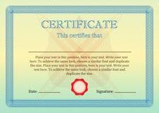 Certificat ou diplôme de calibre d'achèvement Vecteur Photo stock