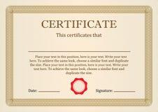 Certificat ou diplôme de l'achèvement Image libre de droits