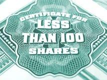 Certificat pour moins de 100 actions Photographie stock
