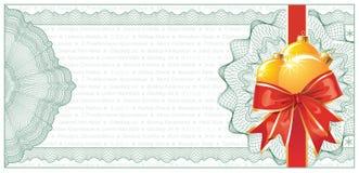 Certificat-prime ou escompte d'or de Noël Images libres de droits