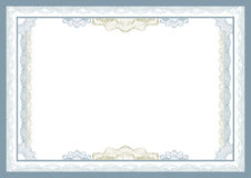 Certificate. Vector illustration - blue certificate template Stock Photography