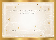 Certificate / Diploma award template. Pattern royalty free illustration