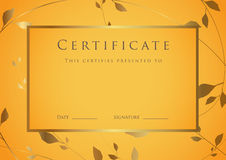 Certificate / Diploma award template. Pattern Royalty Free Stock Image
