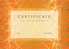 Certificate / Diploma award template. Pattern Royalty Free Stock Photo