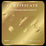 The certificate. In unique style on a gold background Stock Photo