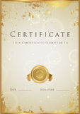 Gold Certificate / Diploma award template. Pattern. Certificate, Diploma of completion (template, background) with gold grunge texture, frame, medal. Certificate royalty free illustration