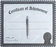 Certificate. Of achievement with pen Royalty Free Stock Image