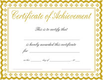 Certificate of achievement. A certificate of achievement ready to print and personalize Royalty Free Stock Images