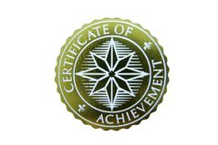 Certificate of Achievement. Seal isolated on white Royalty Free Stock Photo