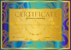 Certificate, Diploma golden design template, colorful background with floral, filigree pattern, gold frame. Certificate of Achievement, coupon, award, winner stock illustration