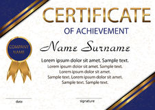 Certificate of achievement or diploma. Elegant light background stock illustration