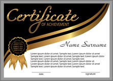 Certificate of achievement, diploma. Reward. Winning the competi Stock Images