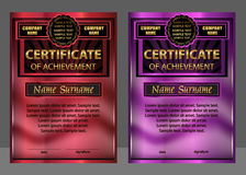 Certificate of achievement or diploma. Set red and purple. Rewar Royalty Free Stock Images