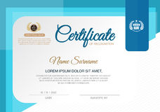 Certificate of achievement frame design template,blue. Royalty Free Stock Image