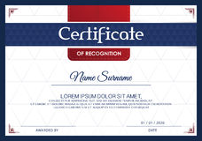 Certificate of achievement frame design template,blue-white. Stock Photos
