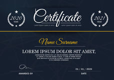 Certificate of achievement frame design template,blue-white. Royalty Free Stock Image