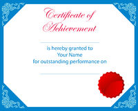 Certificate of achievement Royalty Free Stock Image
