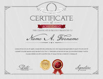 Certificate of Achievement with Laurel Wreath. Elegant Frame. Royalty Free Stock Images