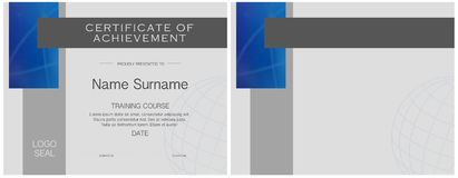 Certificate of Achievement Modern Blue Elegant. Certificate of Achievement Modern Elegant stainless steel and Blue accents on gray background royalty free illustration
