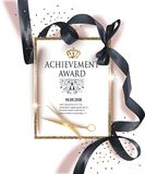 Certificate of achievement sheet with black ribbon and gold vintage frame. Vector illustration Royalty Free Stock Photo