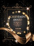 Certificate of achievement sheet with gold ribbon and vintage frame. Vector illustration Stock Photos