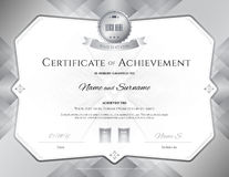Certificate of achievement template with award ribbon on abstrac Stock Photography