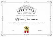 Certificate of achievement  template background. Stock Image