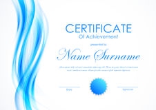 Certificate of achievement template. With bent blue wavy light soft background and seal. Vector illustration royalty free illustration