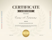 Certificate of achievement template in brown theme on beige colo Stock Images