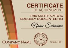 Certificate of Achievement Template. Vector illustration Stock Photography