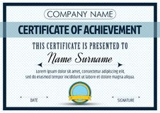 Certificate of Achievement Template. Vector illustration Royalty Free Stock Photo