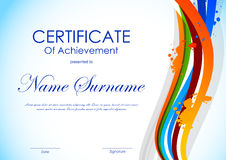 Certificate of achievement template Stock Image