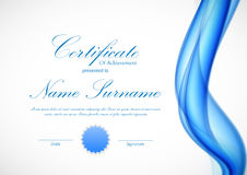 Certificate of achievement template. With curved blue wavy transparent soft background and seal. Vector illustration royalty free illustration