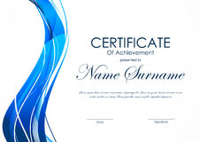 Certificate of achievement template. With dynamic blue curved wavy background. Vector illustration vector illustration