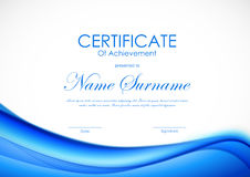 Certificate of achievement template. With dynamic blue wavy soft shiny background. Vector illustration royalty free illustration