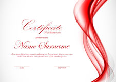 Certificate of achievement template. With dynamic red wavy soft elegant background. Vector illustration stock illustration