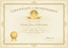 Certificate of achievement template with elegant gold. Border Stock Photography