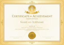 Certificate of achievement template with elegant gold border on Royalty Free Stock Image