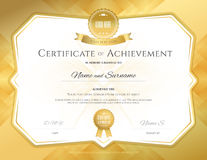 Certificate of achievement template with elegant gold border on. Abstact guilloche background Stock Image